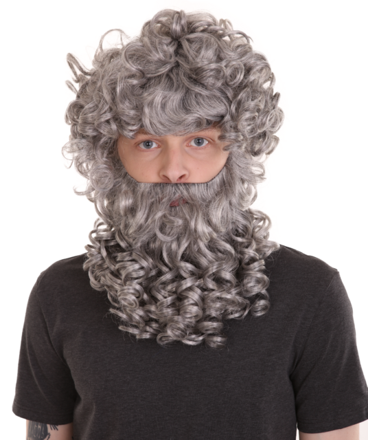 Gray Curly Short Wig Full Beard Set for Cosplay Party God ...