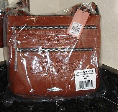NEW Franco Sarto Signature Ella Triple Zip Cross body Tan Handbag  $79 !!!