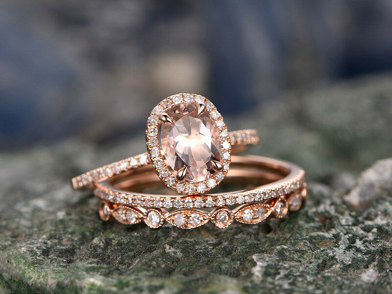 Oval Morganite & Dia Engagement Half Eternity Trio Ring Set 14k pink gold Over