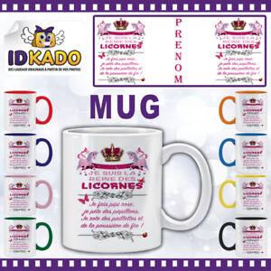 Mug-tasse-JE-SUIS-LA-REINE-DES-LICORNES-personnalise-avec-Prenom-Ref-MB42