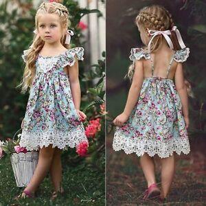 8a2c1e739 verano Parte Vestido de bebé niña Flores de tul Sin mangas De encaje ...