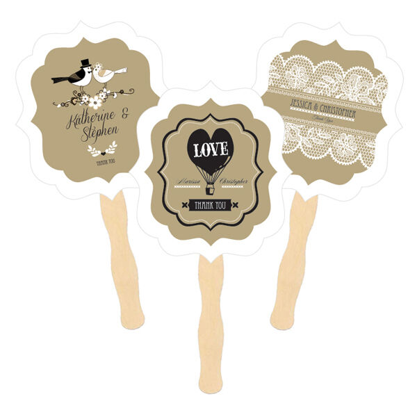 144 Personalized Vintage Classic Kraft Paddle Hand Fan Bridal Wedding Favors