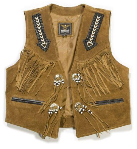 Gilet in Pelle rauleder Gilet in Pelle Camoscio Nero Marrone Biker Cowboy Western