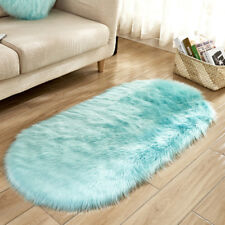 Faux Fur Sheepskin Rug Balcony Oval Circle Rectangle Floor Carpet Bedroom Mat Uk