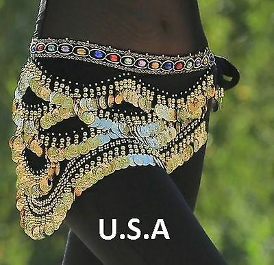 Belly Dance Hip Scarf Coin Belt Tribal Costume Quick Shipping USA  FREE Gift
