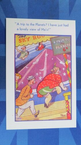 Vintage Comic Postcard 1940s FUN FAIR Fairground Trip To Plants MARS Bloomers