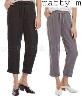 Womens Matty M Cropped Black Linen Drawstring Cuffed Pant Variety Sizes