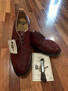 Vintage Dr Martens Made in England, New With Tag, Oxblood 1461 size UK8