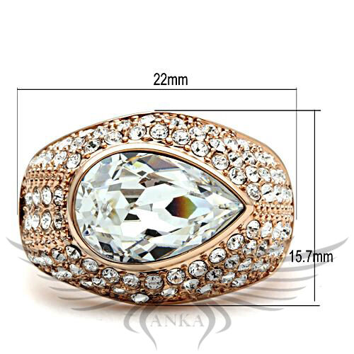 4ct Pear Cut Top Grade Crystal Rose Gold Engagement Ring 5 6 7 8 9 10 GL146 *