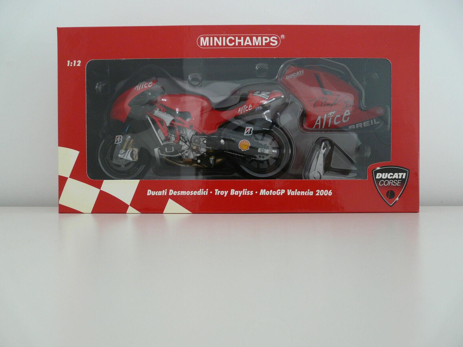 MINICHAMPS 1 12 TROY BAYLISS 2006 SIGNED VALENCIA MOTO GP DUCATI DESMO 122060012
