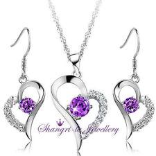 925 Sterling SILVER Purple AMETHYST Womens HEART NECKLACE EARRINGS SET SX1027