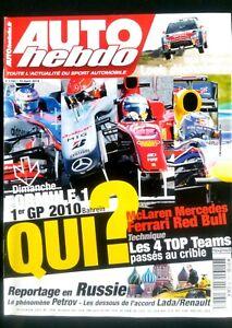 Auto Hebdo Du 10/03/2010; Les 4 Top Teams Passés Au Crible/ Pétrov Le Phénomène