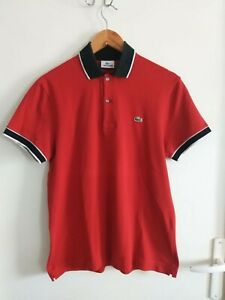 beau polo LACOSTE homme authentique taille 4 / M rouge TBE