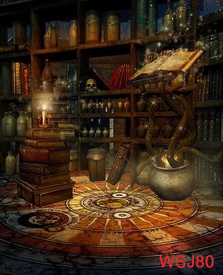 LB 10X10FT Studio Backdrop Vinyl Photo Background Halloween Room Retro Bookshelf
