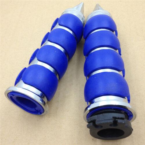"1"" 25mm Chrome  Blue Spike Rubber Hand Grip For 2003-2006 Kawasaki Classic 1600"