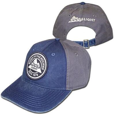 Hat Cap Licensed Coors Light Born In The Rockies 1978 Grey Navy OC