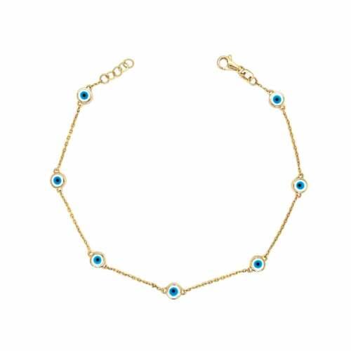 Details about  /14K Yellow Gold Dainty Layering Evil Eye Bracelet HandmadeJewelry Christmas Gift