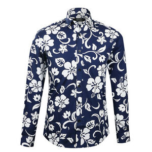 57369988b18 Image is loading Luxury-Men-Floral-Print-Shirt-Long-Sleeve-Flower-