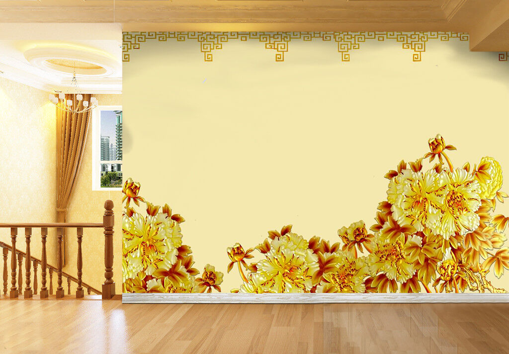 3D Golden flowers 2132 Wall Paper Wall Print Decal Wall Deco Indoor Wall Murals