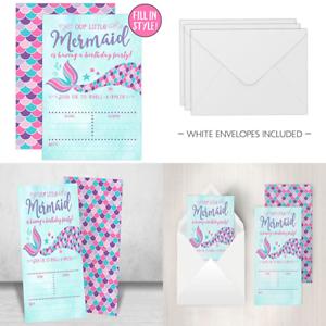 Image Is Loading Mermaid Birthday Invitations PINK Amp PURPLE 20 Fill