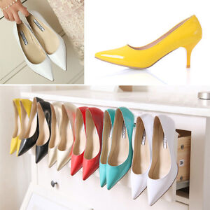 Womens-Ladies-Patent-Leather-Mid-Heel-Pointed-Toe-Pumps-Court-Shoes-UK-1-8-D461