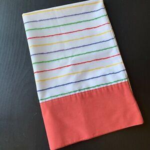 Vintage-Rainbow-Stripe-Pillowcase-Red-Blue-Green-Green-Yellow-Standard-Size-USA