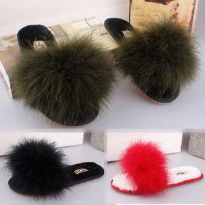 24bee8a9999382 Woman Genuine Fur Leather Ostrich Flat Flip Flop Sandal Mule Loafer ...
