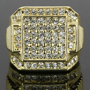 0f4571f789df82 Mens 14k Gold Plated Iced Out Hip Hop Style 6 Square Ring CZ Crystal ...