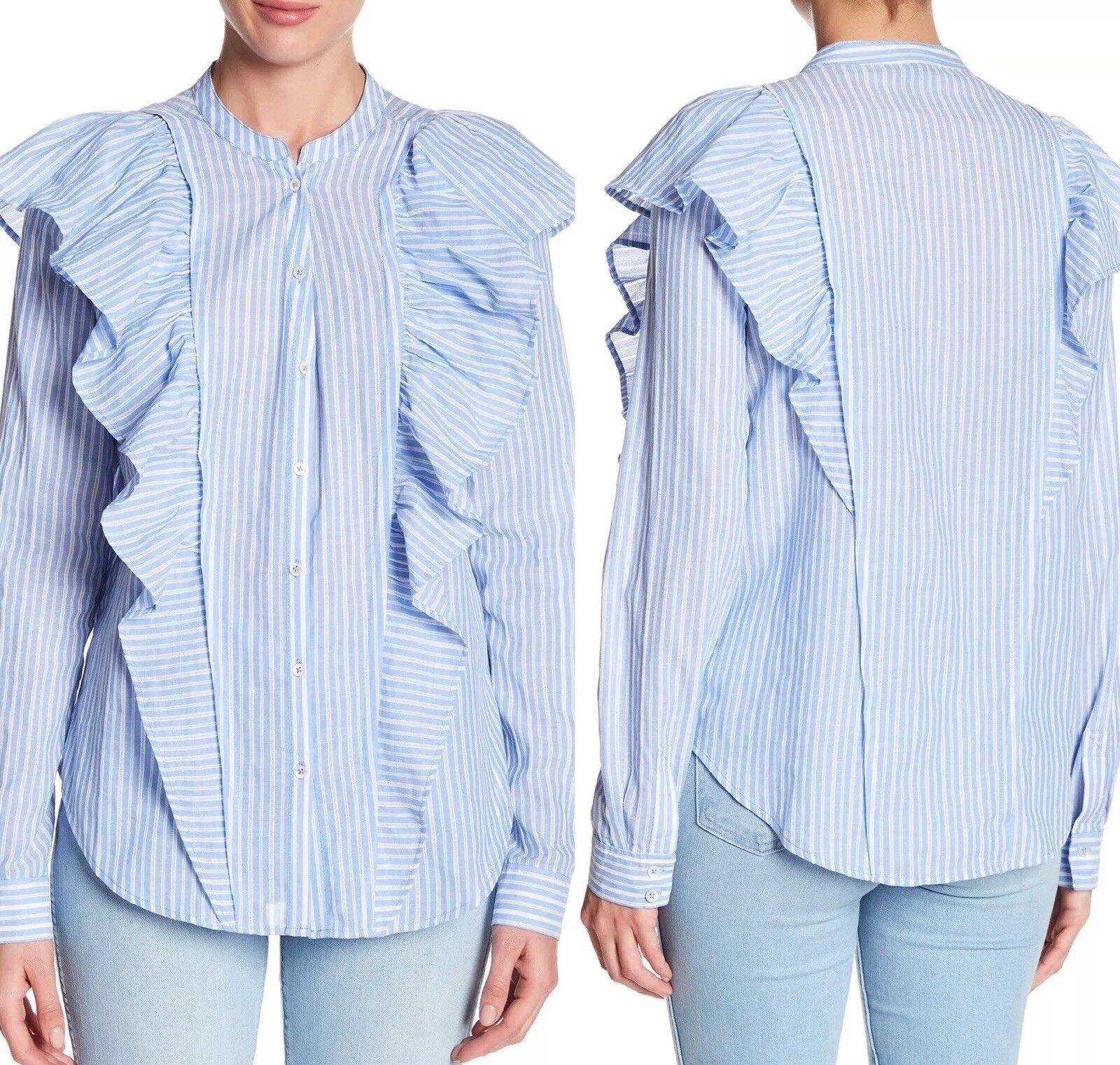 NWT PAIGE Fareen Ruffled Button Down Pinstripe Shirt Large