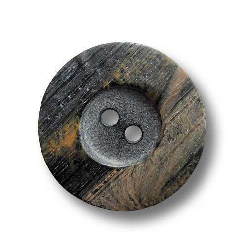 3672bs 10 kleine schwarz braun melierte Kunststoff Knöpfe in Horn Optik