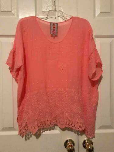 Johnny Was Sheer Lightweight V-Neck Tunic Boho Flo