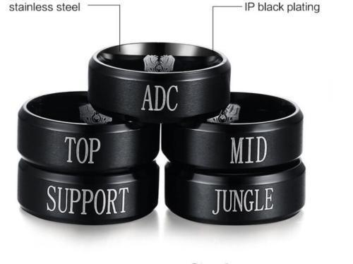 DZ868 LOL Game Role Stainless Steel Ring Band Titanium 17 19mm ☆