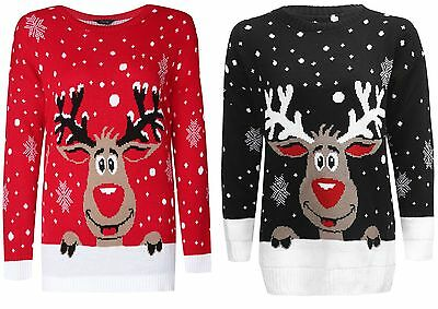 Aggressiv Ladies Men Kid Knitted Reindeer Rudolf Christmas Xmas Novelty Jumper Sweater Top