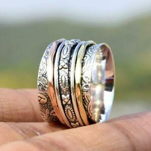 Solid-925-Sterling-Silver-Spinner-Ring-Meditation-Ring-Statement-Ring-Size-st855