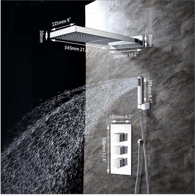 Deux fonctions carré mélangeur de douche Set avec trois voies d'eau Salle de bains robinet