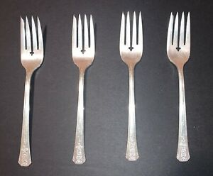 4 Oneida Community Tudor Silverplate Queen Bess II Flatware Salad Forks