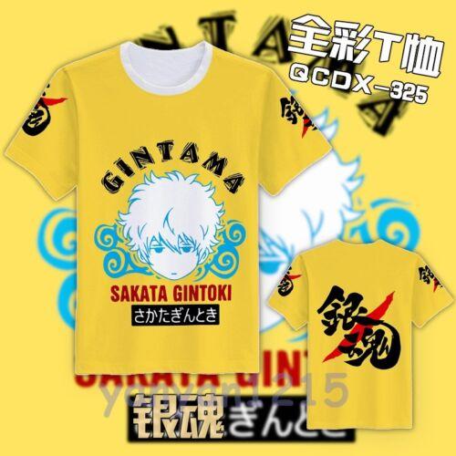 New Anime GINTAMA Sakata Gintoki Full color Tee Casual Top T-Shirt M,L,XL,XXL