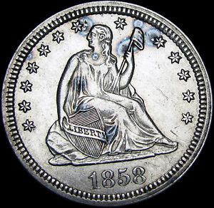 1858 Seated Liberty Quarter Silver Type Coin  ---- Stunning ----  #J319