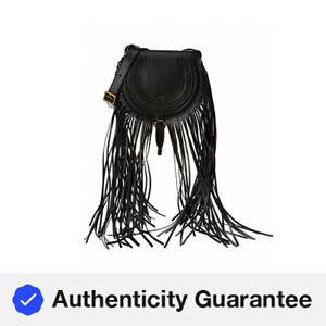 Chloe Marcie Mini Fringe Leather Shoulder Bag Women's Black