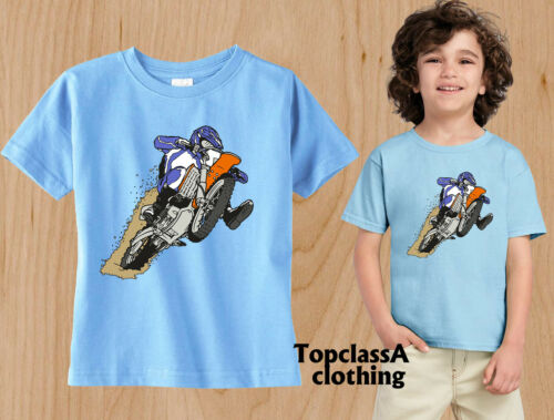 Kids T-shirts Racing Bike Mud Race Stunt Speed Fast Family Outing Children party