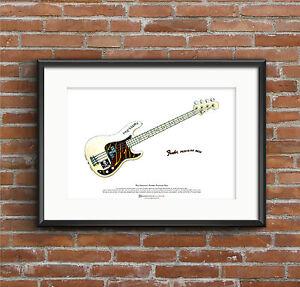 100% Vrai Paul Simonon's Fender Precision Bass Art Affiche A3 Taille Et D'Avoir Une Longue Vie.