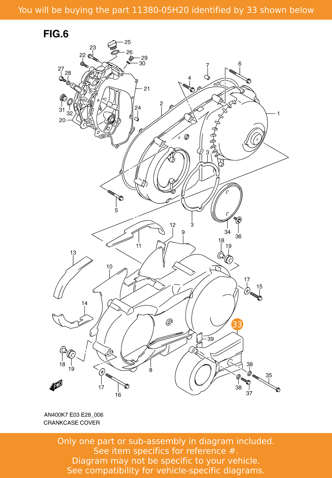 nos Suzuki AN 400 Burgman Left Engine  Belt Cover Cooling Duct 11380-05H20