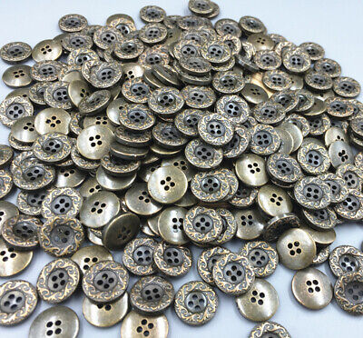 DIY Vintage Resin Buttons Carving 4-holes decoration crafts Coppery sewing 15mm