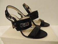 Women's Raya Black Leather Canvas Dress Shoes Front Gold Turnlock Open Toe
