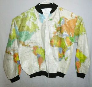 Wearin-The-World-Map-Jacket-Men-s-XXL-Windbreaker-Kurt-Cobain-Vintage-80s-90s