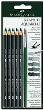 Faber Castell Aquarelle Watersoluble Graphite Pencils Set 5 Degrees & Brush