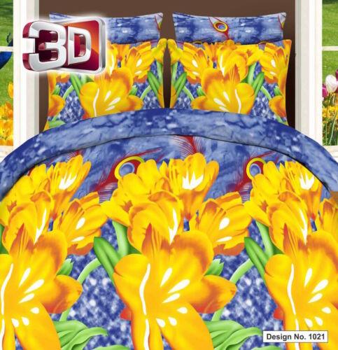 cloches floral housse de couette avec taie d/'oreiller /& drap housse 3D jaune elder