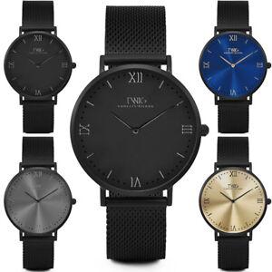 Reloj-hombre-mujer-TWIG-HUME-negro-oro-azul-malla-clasico-vintage