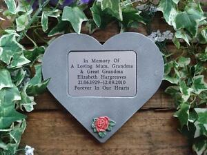 Personalised-3D-Rose-Design-Stone-Memorial-Heart-Grave-Marker-Any-colour