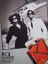 PUBLICITÉ DE PRESSE 1986 EAU DE TOILETTE KL HOMME PARFUMS LAGERFELD